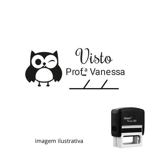 CARIMBO PARA PROFESSORES - VISTO PROFESSOR CORUJINHA PISCANDO –  NOME PERSONALIZADO E DATA