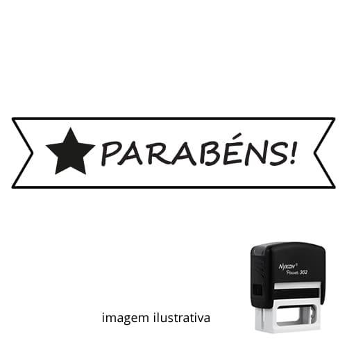 CARIMBO PARA PROFESSORES - VISTO PROFESSOR PARABÉNS 1,2cm x 3,8cm