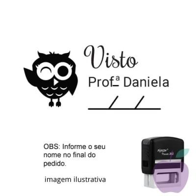 CARIMBO PARA PROFESSORES - VISTO PROFESSOR CORUJINHA–  NOME PERSONALIZADO