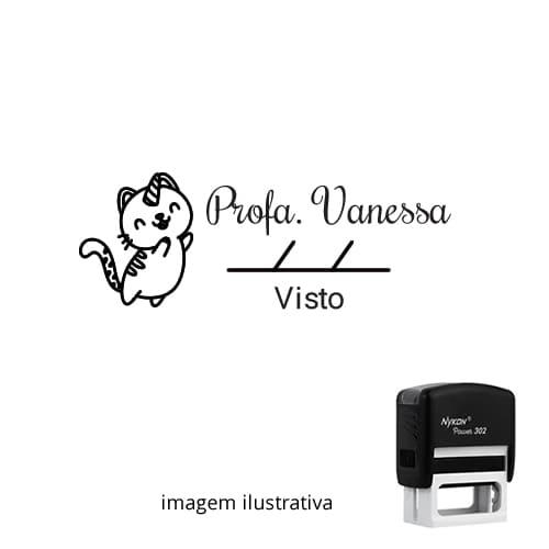 CARIMBO PARA PROFESSOR – VISTO COM GATO UNICÓRNIO + NOME PERSONALIZADO + DATA 1,8cm x 4,7cm